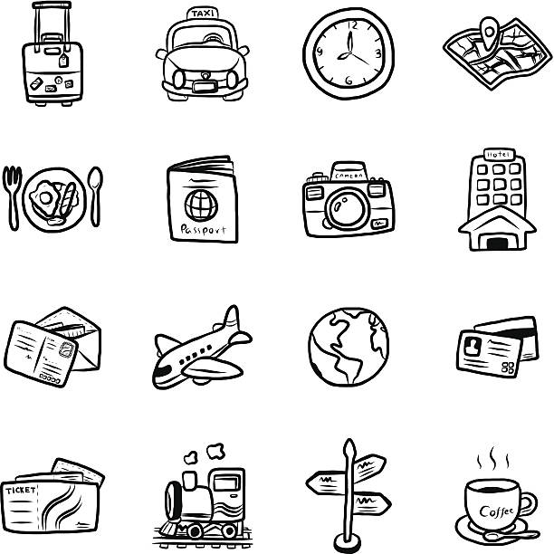 Black and white illustrated travel symbols travel and transportation objects or icons / cartoon vector and illustration, hand drawn style, isolated on white background. airport drawings stock illustrations