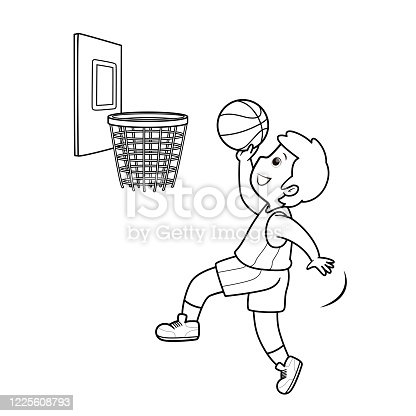 istock ฺBlack and White Illustration of a basketball player jumping on a basketball ball In a white background for assembling or creating teaching materials for moms doing homeschooling and teachers searching for images for teaching materials. 1225608793
