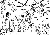 Black and white illustration of a cute monkey in the jungle.