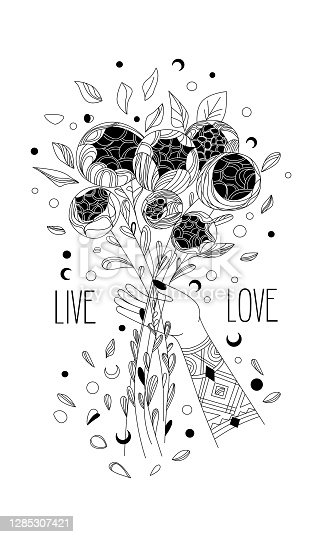 istock black and white illustration of a hand holding a bouquet of flowers of pion, 1285307421