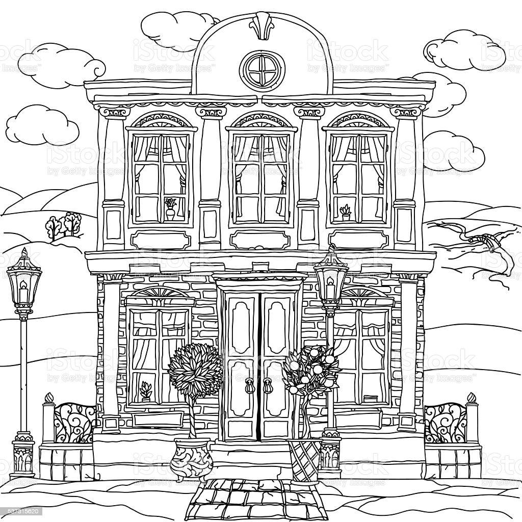 Bianco E Nero Illustrazione Di Una Casa Vettoriale Immagini