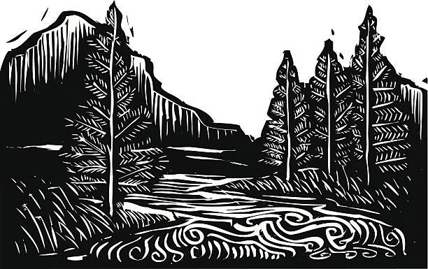stockillustraties, clipart, cartoons en iconen met black and white illustration of a mountain landscape - houtgravure