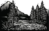 Black and white illustration of a mountain landscape