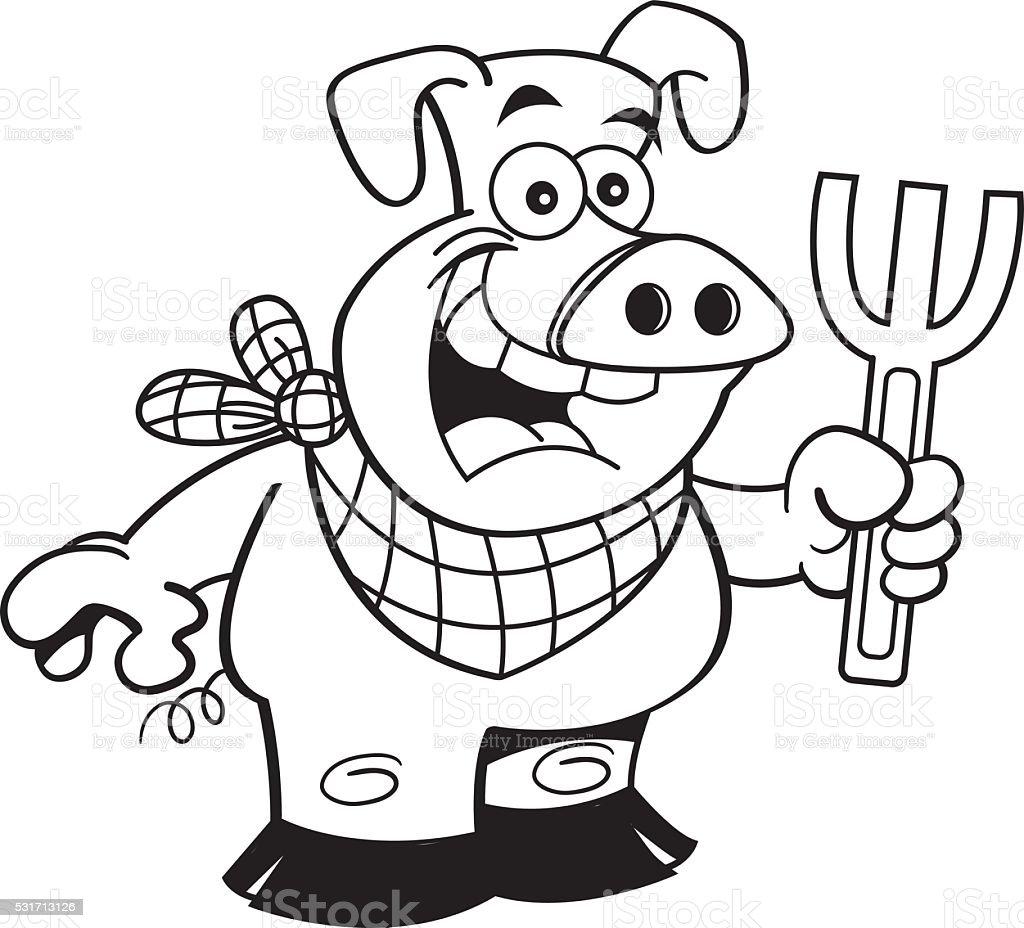 白黒イラストレーションの豚を持っている分岐点があります のイラスト