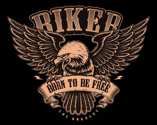 ilustrações, clipart, desenhos animados e ícones de ilustração a preto e branco de american eagle - moto