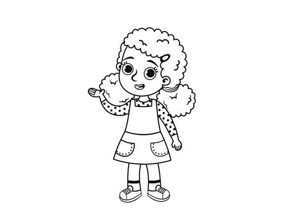 stockillustraties, clipart, cartoons en iconen met zwart-wit illustratie van een afro-amerikaans meisje. - alleen één meisje