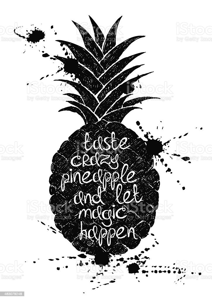 black and white illustration of black pineapple fruit silhouette stock vector art 483079248 istock. Black Bedroom Furniture Sets. Home Design Ideas