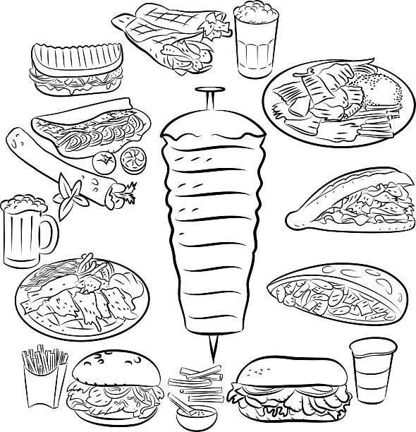 doner kebab - döner stock-grafiken, -clipart, -cartoons und -symbole