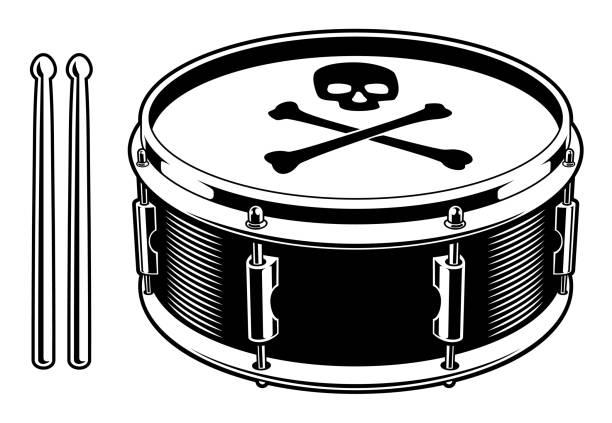 black and white illustration of drum - talerz perkusyjny stock illustrations