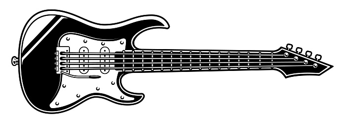 Black and white illustration of electric guitar