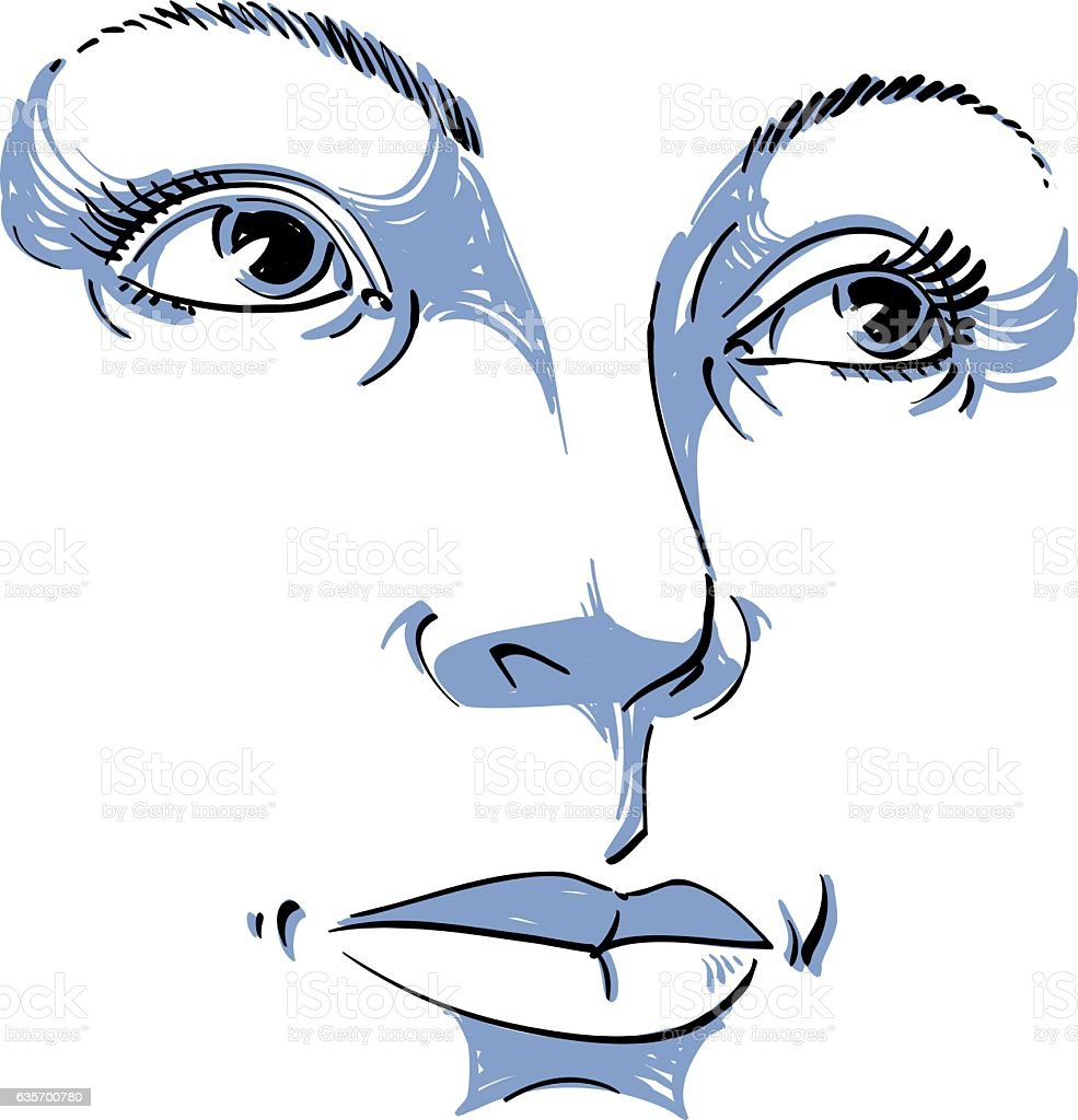 Black and white illustration of lady face, delicate visage features royalty-free black and white illustration of lady face delicate visage features stock vector art & more images of adult