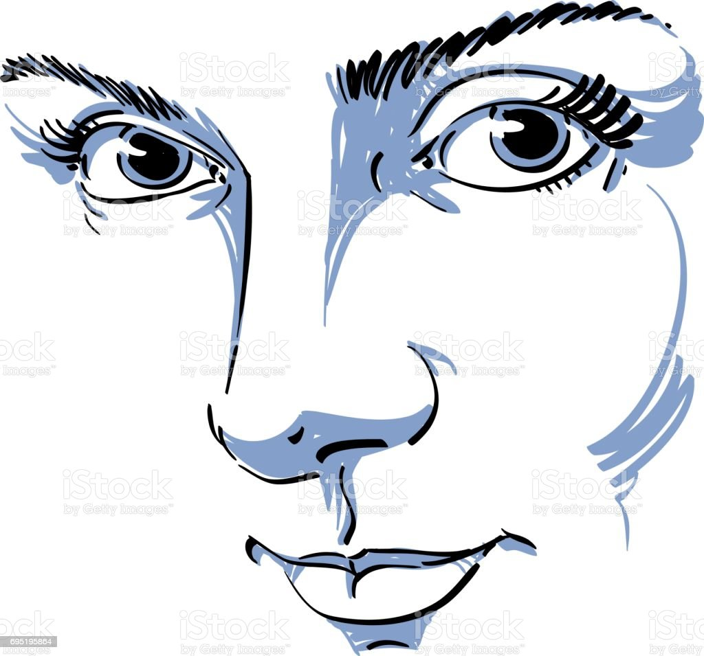 Illustration Visage black and white illustration of lady face delicate visage features