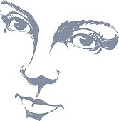 Black and white illustration of lady face, delicate visage