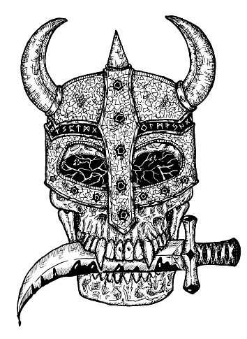 Black and white illustration of scary skull in knight helm holding dagger knife in teeth isolated on white.