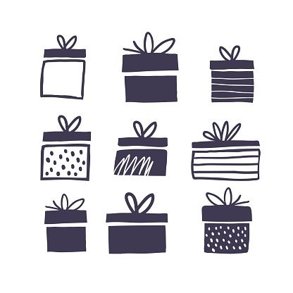 Black and white illustration with gift boxes