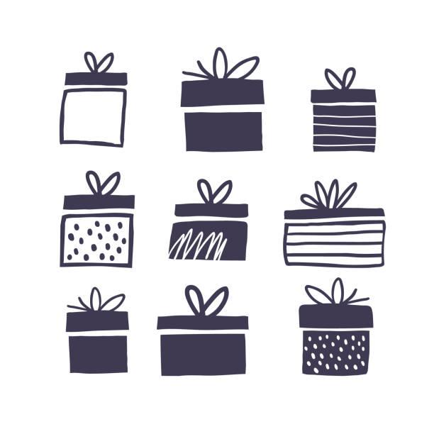czarno-biała ilustracja z pudełkami na prezenty - gift stock illustrations