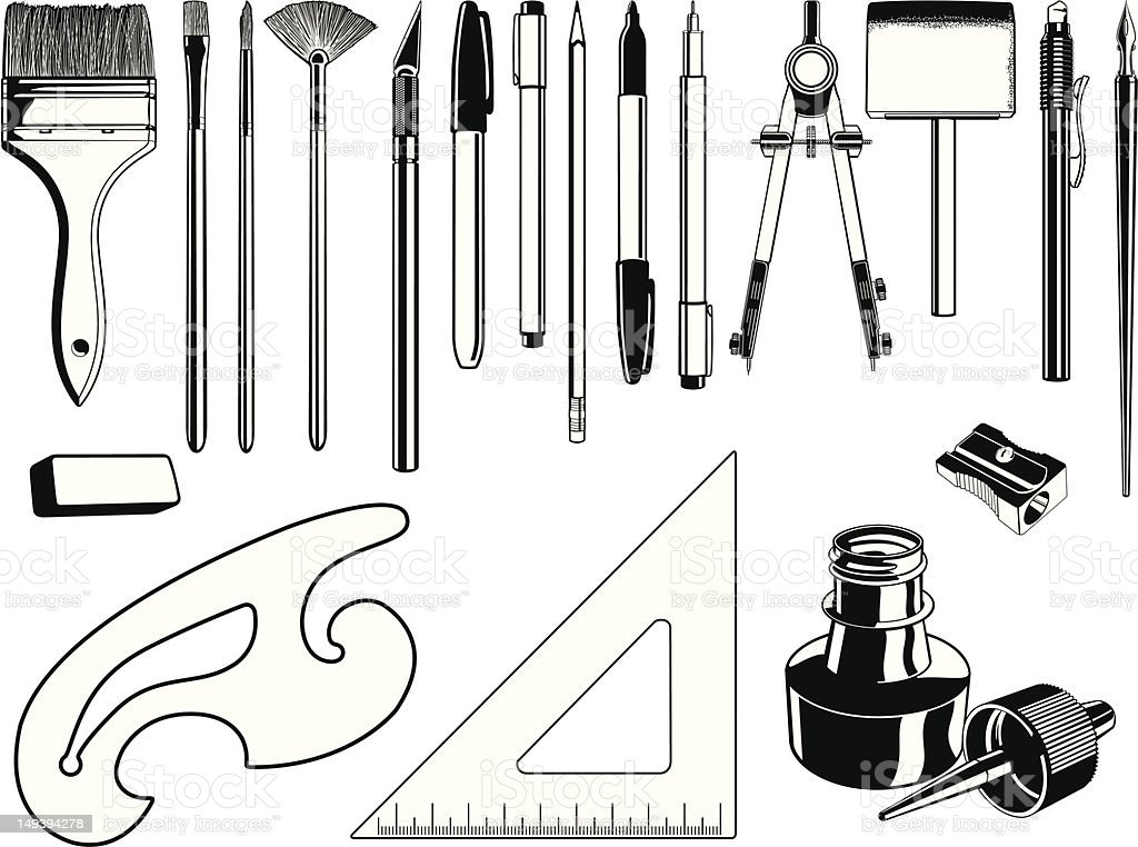 Black and white illustrations of art supplies vector art illustration