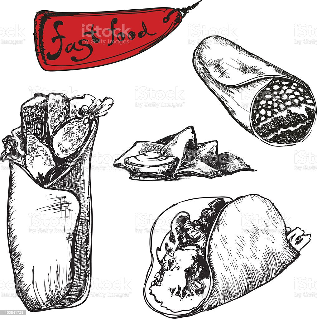 Black and white illustrations of burritos vector art illustration