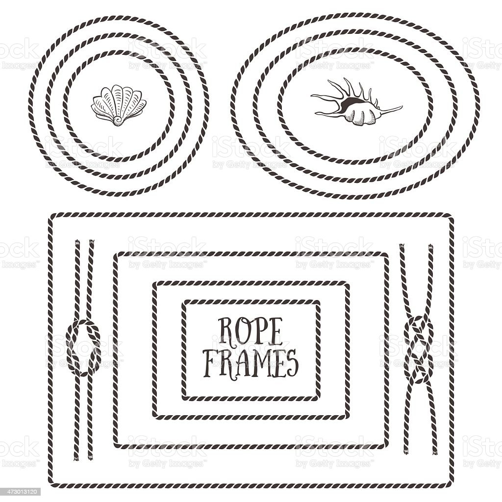 Black and white illustrations of different rope frames vector art illustration