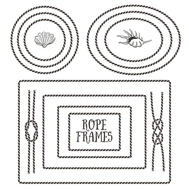stockillustraties, clipart, cartoons en iconen met black and white illustrations of different rope frames - touw