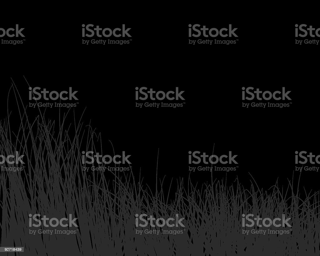 A black and white image depiction of grass vector art illustration