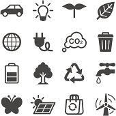 A black and white image of ecology icons