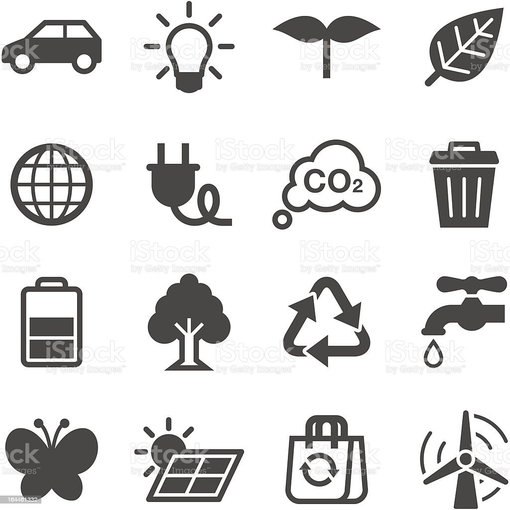 A black and white image of ecology icons vector art illustration