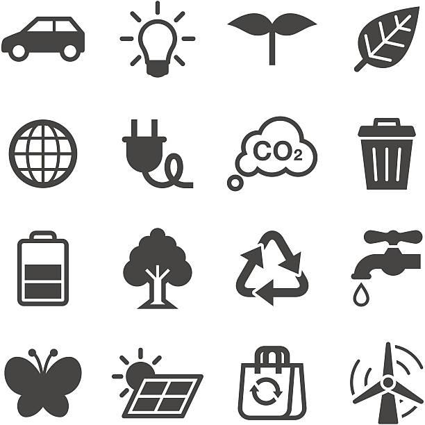 bildbanksillustrationer, clip art samt tecknat material och ikoner med a black and white image of ecology icons - co2