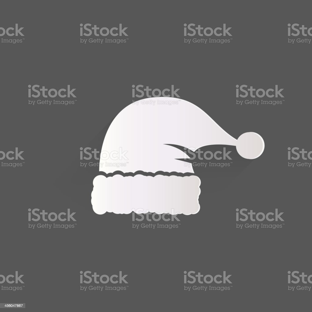 Black and white image of Santa's hat vector art illustration