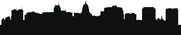A black and white image of the Madison Wisconsin skyline Madison Wisconsin city skyline silhouette vector illustration madison wisconsin stock illustrations