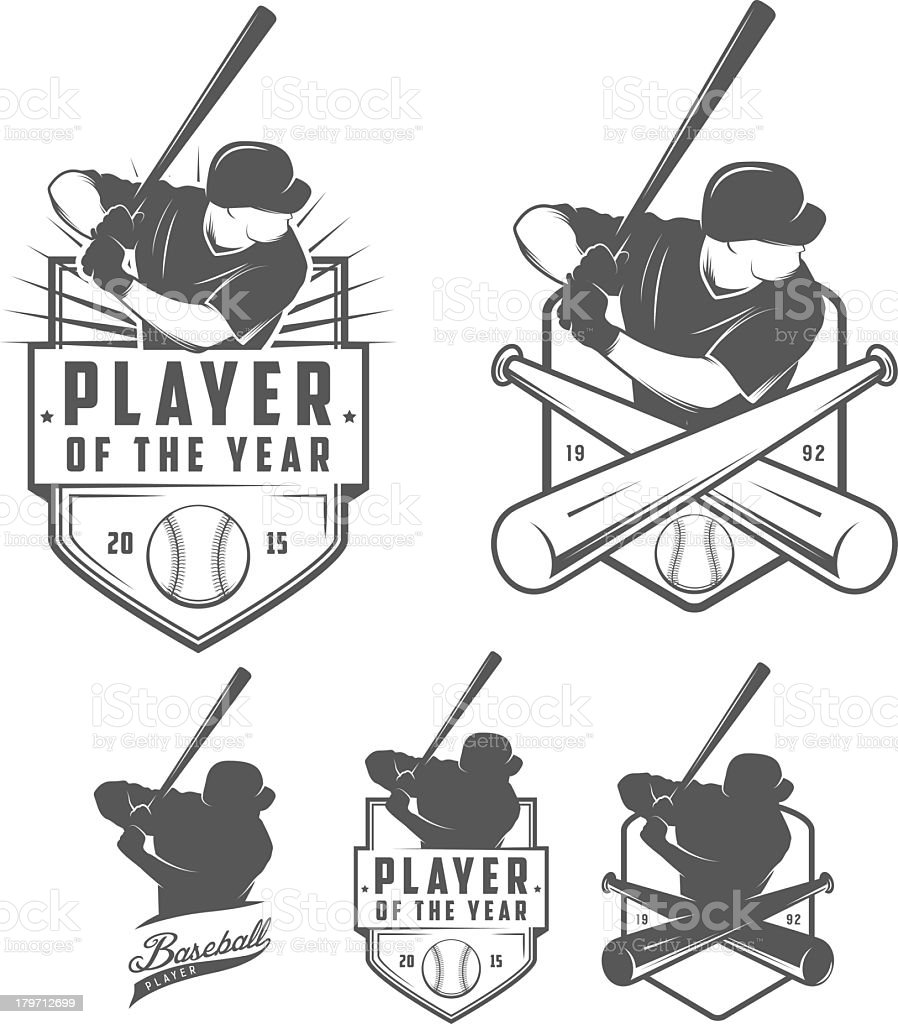 Black and white images of baseball badges vector art illustration