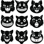 Black and white images of Halloween cat heads