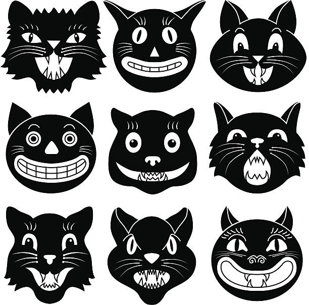 Black and white images of Halloween cat heads Vector illustrations of Halloween cat heads. halloween cat stock illustrations