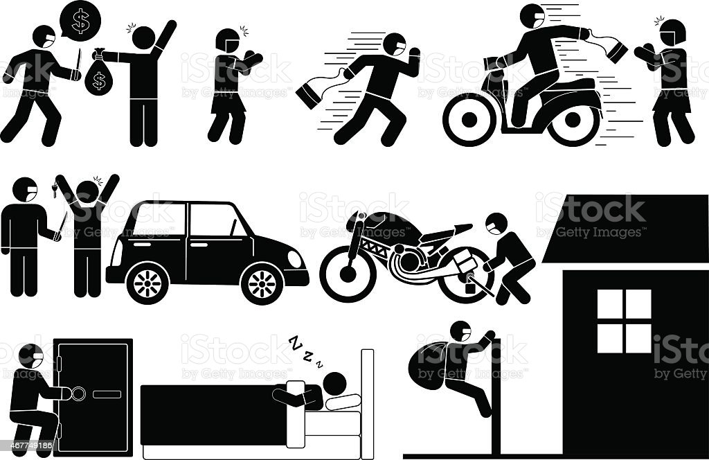 Black and white images of thieves and burglars vector art illustration