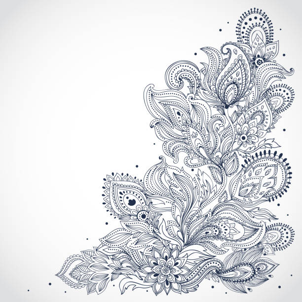 stockillustraties, clipart, cartoons en iconen met black and white indian floral pattern on a white background - hennatatoeage