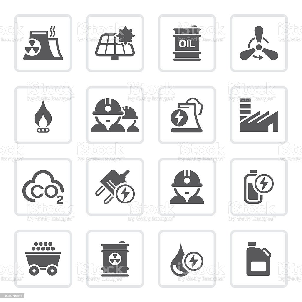 Black and white industry icons vector art illustration