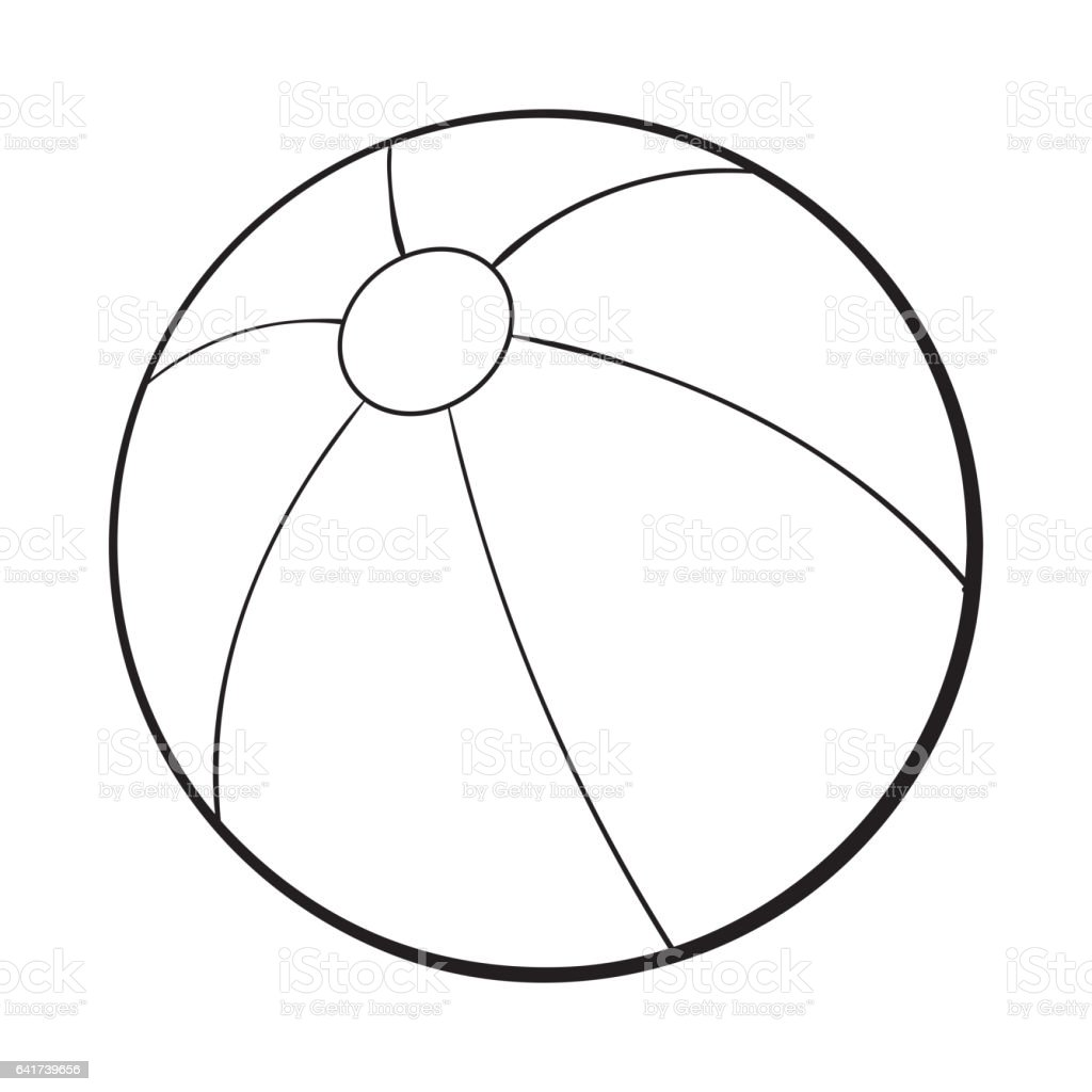 Black And White Inflated Beach Ball Sketch Style Vector