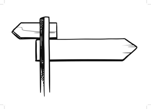 Royalty Free Drawing Of A Blank Street Sign Template Clip ...
