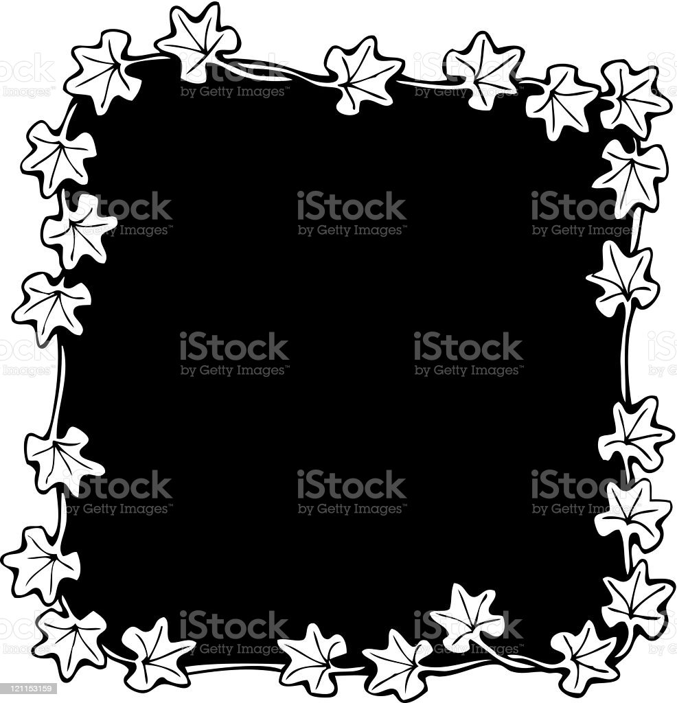 Black and White Ivy Holiday Border royalty-free stock vector art