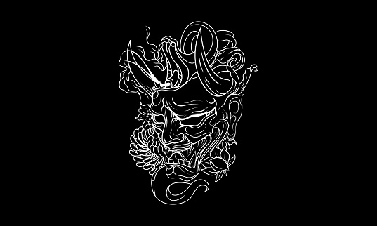 Black And White Japanese Demon Tattoo