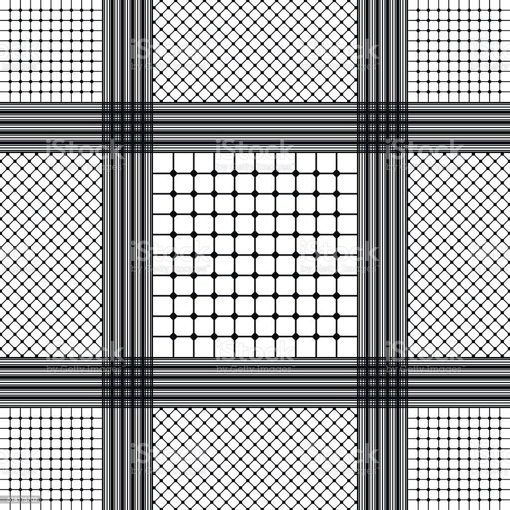 Black and white keffiyeh for men the middle East. vector art illustration