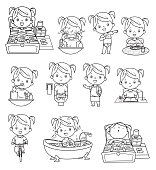 Vector Black and White, kids daily routine activities