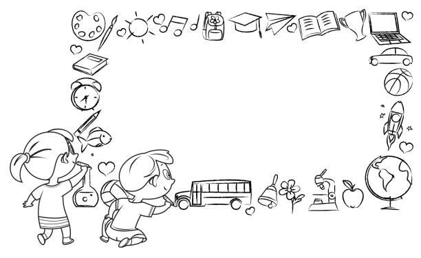 illustrazioni stock, clip art, cartoni animati e icone di tendenza di black and white kids drawing on wall - sfondo scarabocchi e fatti a mano