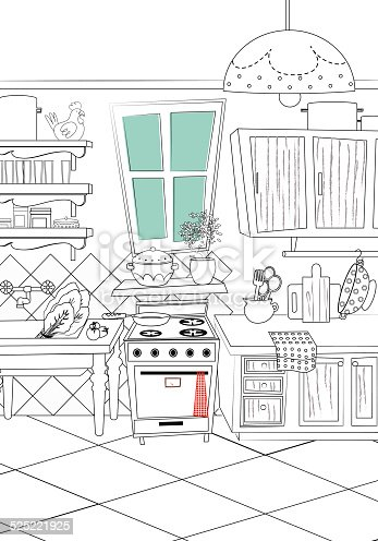 black and white kitchen cartoon style background stock