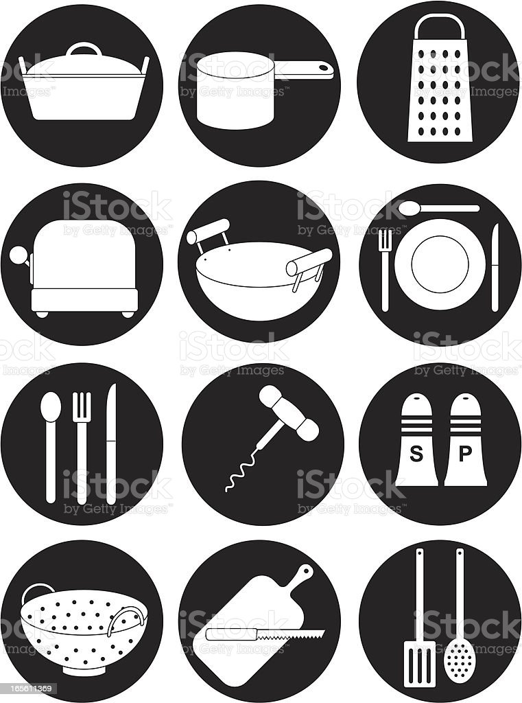 Black and white kitchen equipment icons royalty-free stock vector art