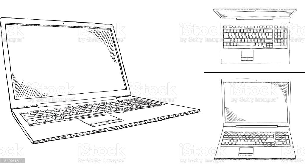 Line Drawing In Computer Graphics : Black and white laptop doodle views 명에 대한 스톡 벡터 아트 및 기타