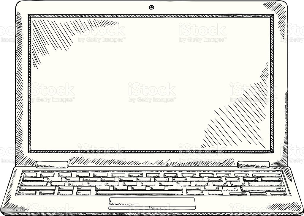Notebook And Pen Sketch Stock Vector Art More Images Of: Black And White Laptop Sketch Stock Vector Art & More