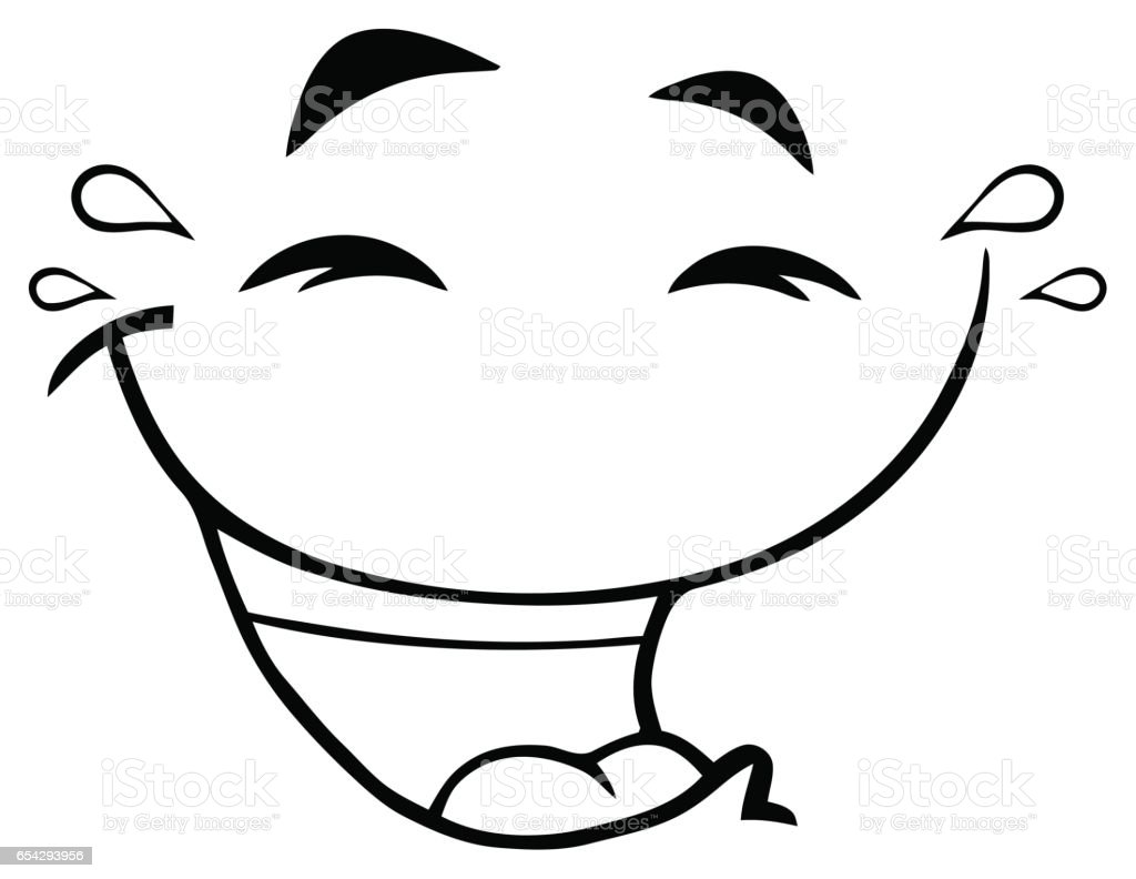 black and white laugh cartoon funny face with smiley