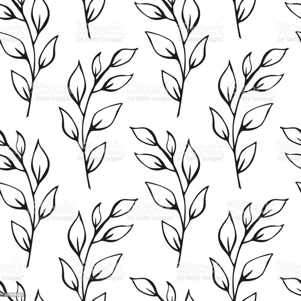 siyah ve beyaz yaprak dalları Dikişsiz desen renk örneği - Royalty-free Arka planlar Vector Art