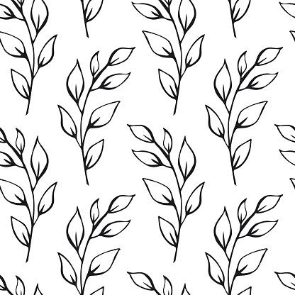 Siyah Ve Beyaz Yaprak Dalları Dikişsiz Desen Renk Örneği Stok Vektör Sanatı & Arka planlar'nin Daha Fazla Görseli